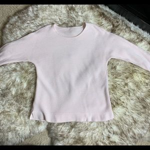 Chicos SZ Med Pink Ribbed Scoopneck sweater 3/4